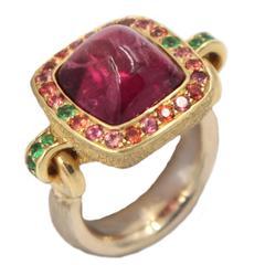 5.15 Carat Pink Tourmaline Orange Sapphire Tsavorite Ring