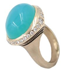 Chalcedony Diamond Gold Ring
