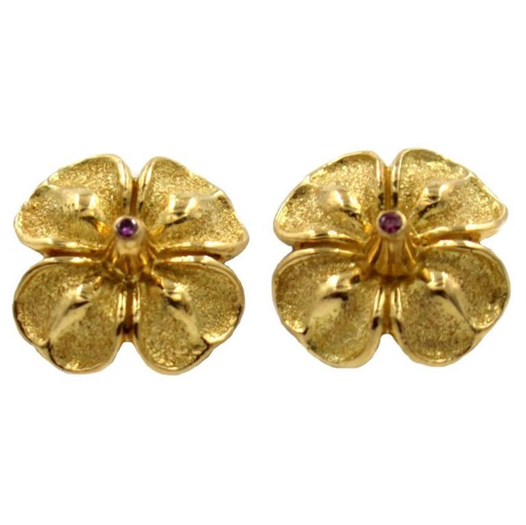 Purple Diamond Gold Flower Shaped Earrings