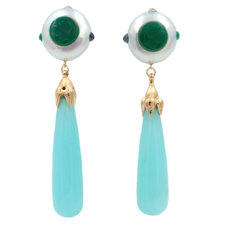 Chalcedony Pearl Emerald Moonstone Onyx Gold Earrings For