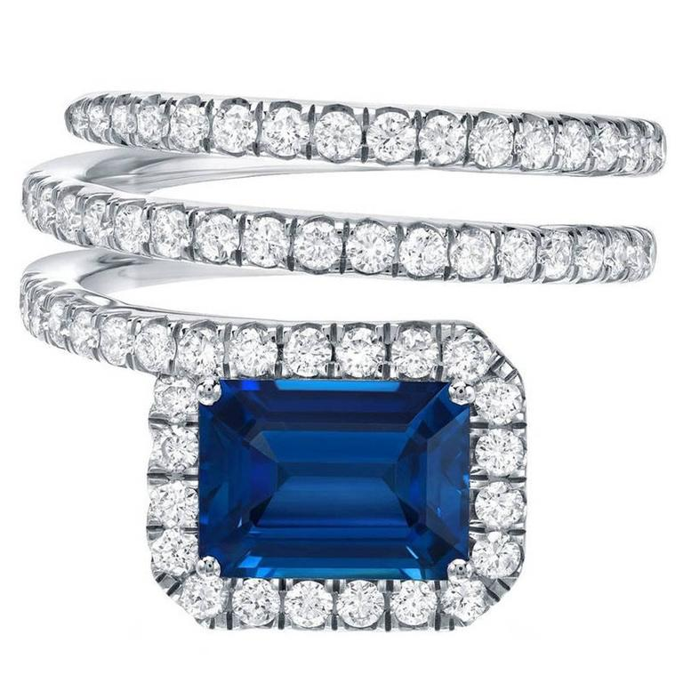 Royal Blue Emerald Cut Sapphire Diamond Gold Swirl Ring