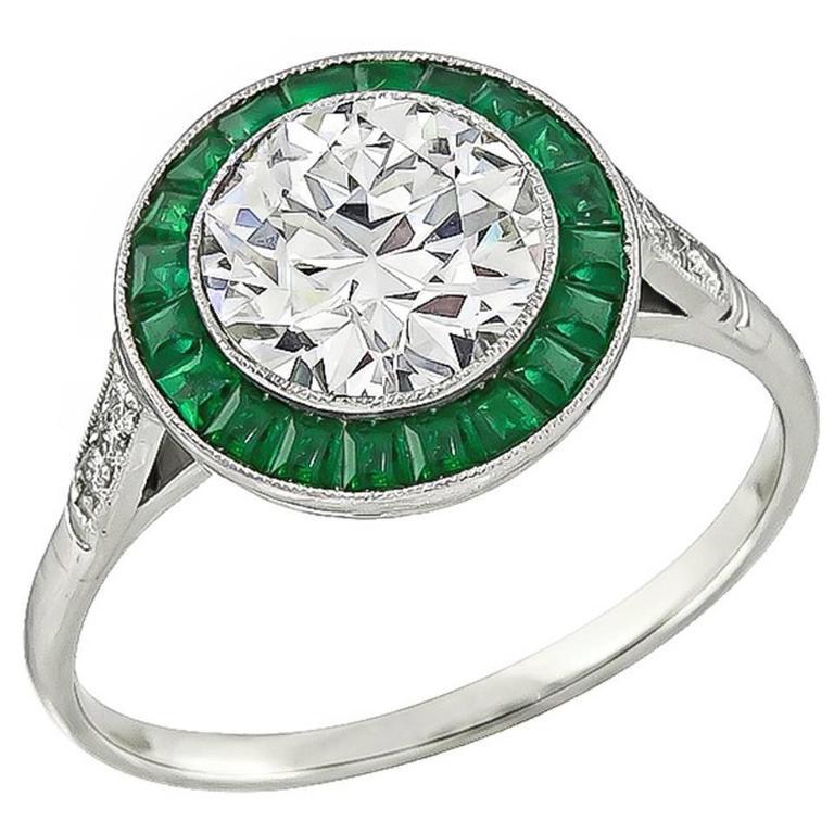 c43ea9462bc5 1.57 Carat Diamond Emerald Halo Engagement Ring at 1stdibs