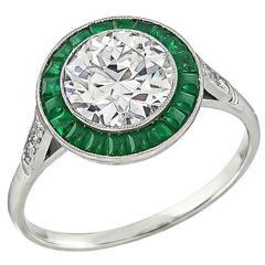 1.57 Carat Diamond Emerald Halo Engagement Ring
