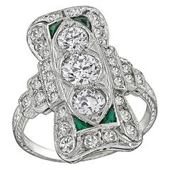 Art Deco Old Mine Cut Diamond Emerald Platinum Ring