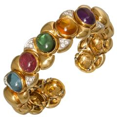 Semi-Precious Cabochon Diamond Gold  Flexible Cuff Bracelet