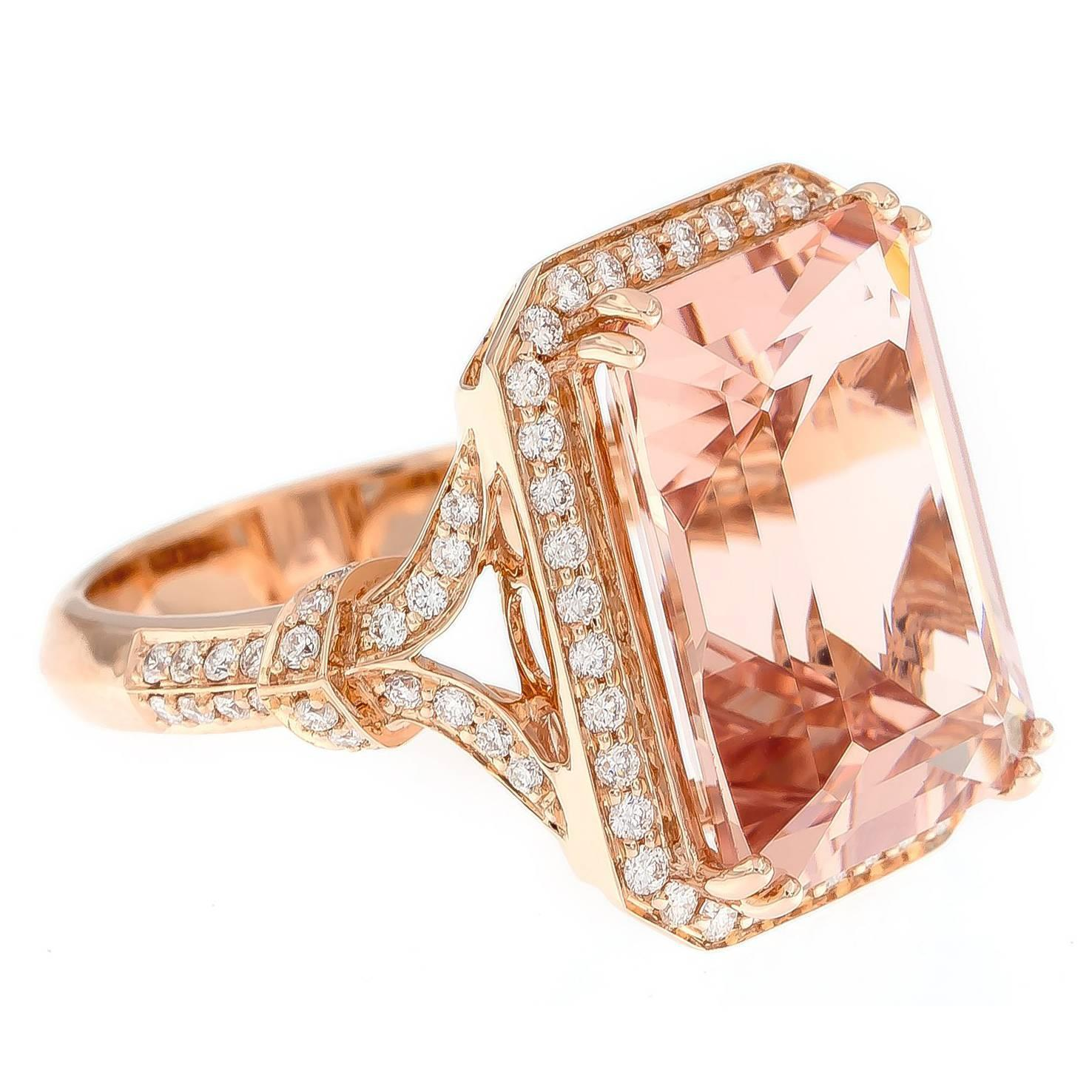 10 29 Carat Morganite and Diamond Gold Ring For Sale at 1stdibs