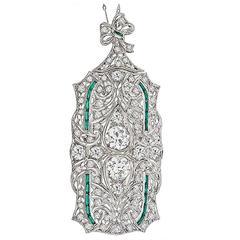 Art Deco Emerald Diamond Platinum Pin Pendant Necklace