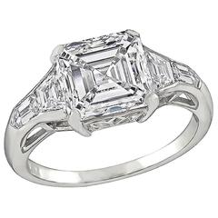 3.01 Carat GIA Asscher Cut Diamond Platinum Engagement Ring