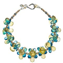 Deborah Liebman Lemon Quartz London Blue Topaz Sterling Silver Gold Necklace
