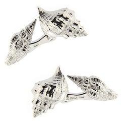 Jona Sterling Silver Sea Shell Cufflinks