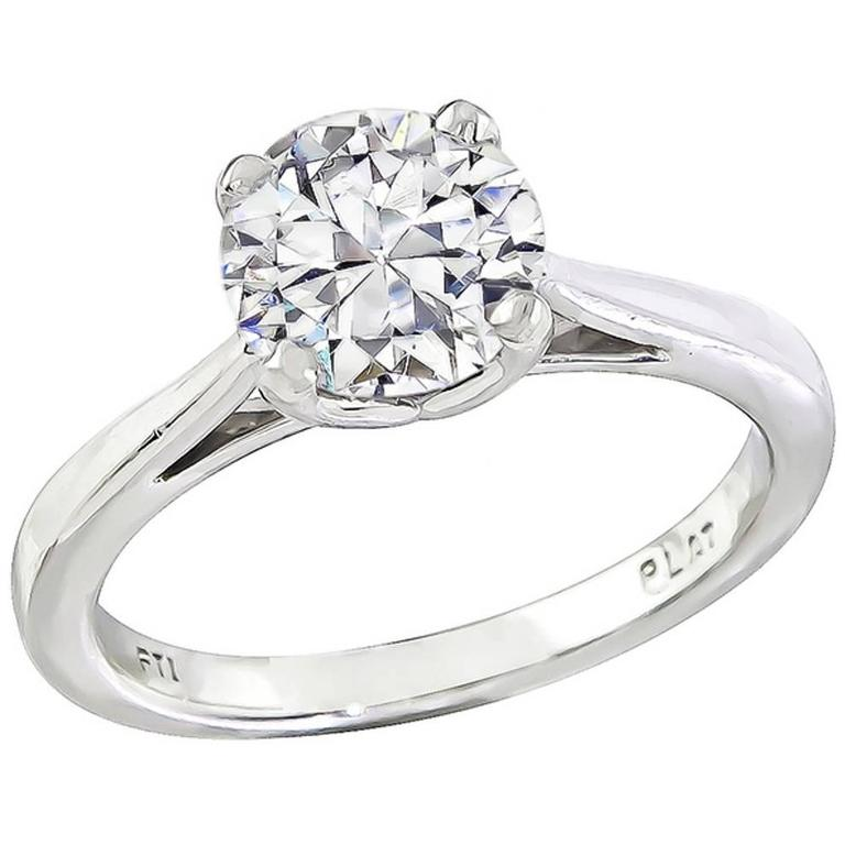 Internally Flawless GIA 1.18 Carat Diamond platinum engagement Ring