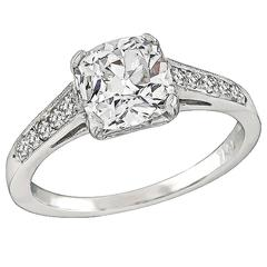 1.55 Carat Cushion Cut Diamond Platinum Engagement Ring