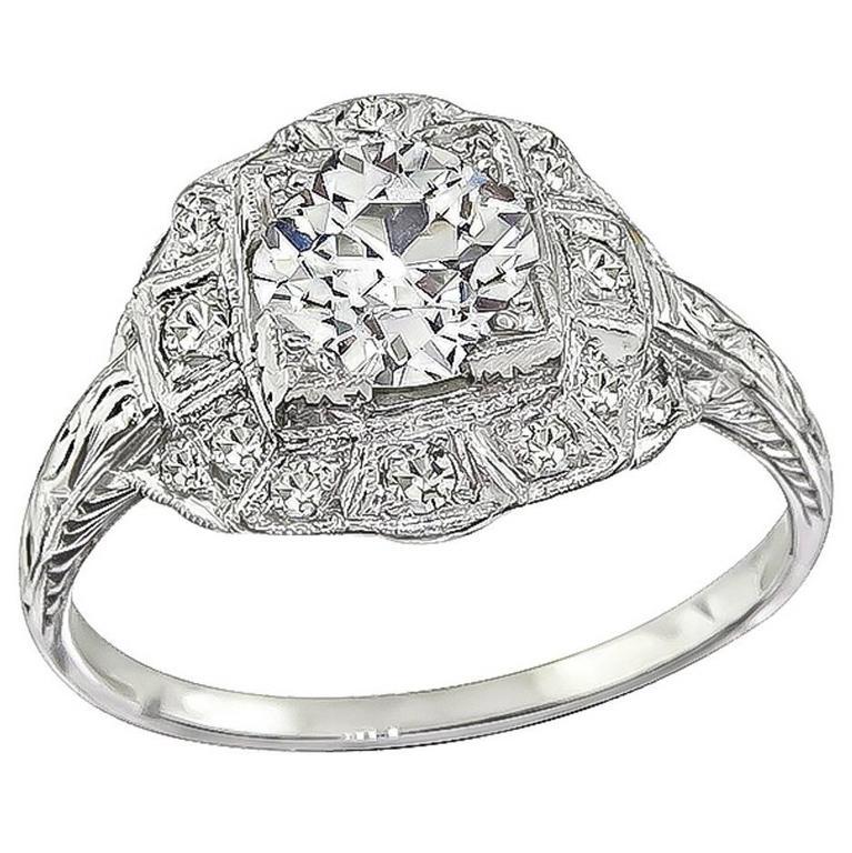 1.02 Carat GIA Certified Diamond platinum Engagement Ring