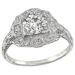 1.02 Carat GIA Certified Diamond platinum Engagement Ring