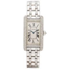Cartier Ladies White Gold Diamond Tank Americaine Automatic Wristwatch