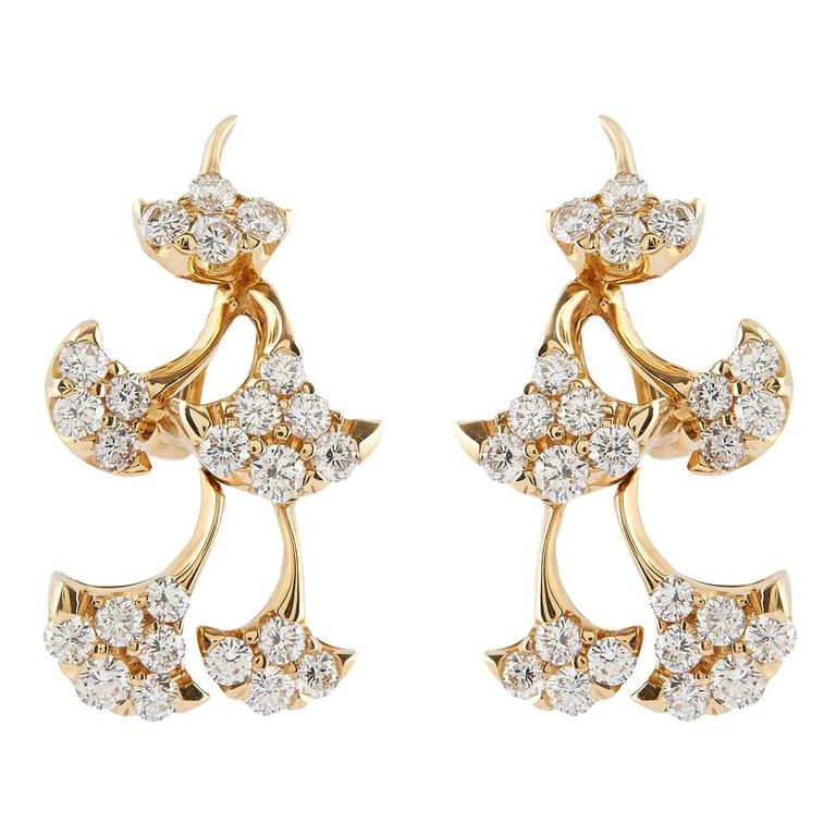 Luca Carati Diamond Gold Flower Dangle Earrings