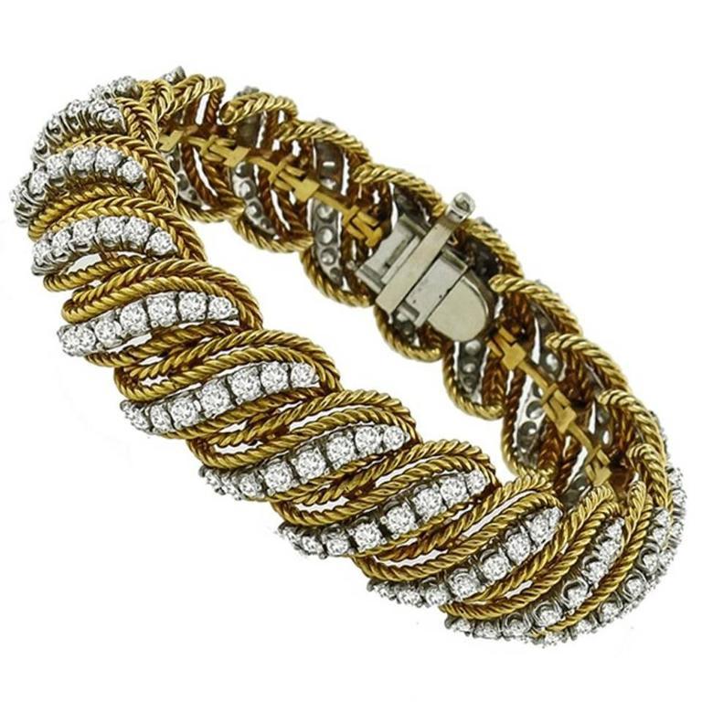 1960s Diamond Two Color Gold Bracelet