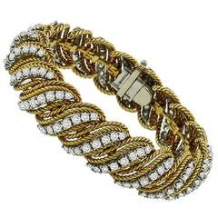 1960s Diamond Two Color Gold Bracelet