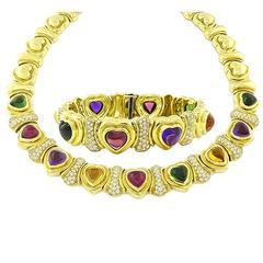 Amazing Diamond Multi Colored Gems Gold Necklace and Bracelet Set
