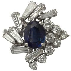 1970s 2.45 Carat Sapphire and 2.23 Carat Diamond White Gold Cocktail Ring