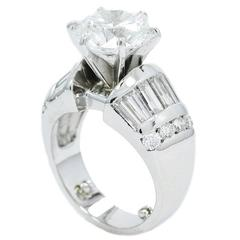4.01 Carat GIA Round Brilliant Cut Diamond Platinum Engagement Ring