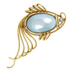 Mabe Pearl Diamond Gold Fish Brooch