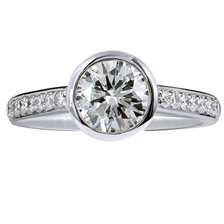 GIA Certified 1.01 Carat Diamond and Pave Bezel Set Platinum Engagement Ring For Sale