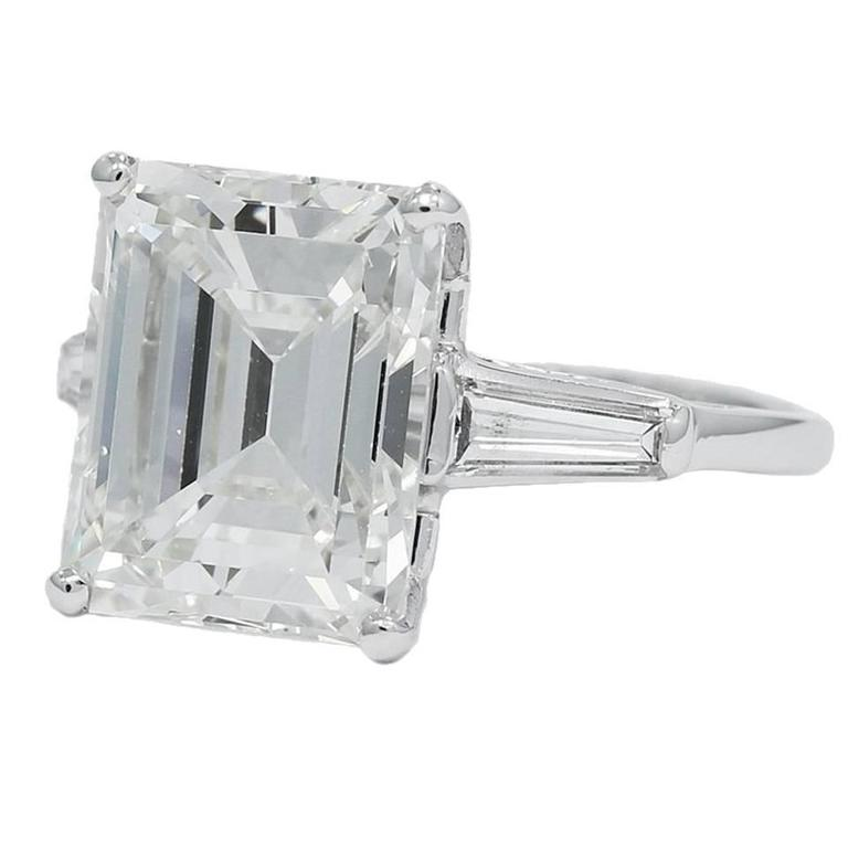 8.25 Carat GIA Emerald Cut Diamond Baguettes Platinum Engagement Ring  1