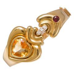 1980s Citrine Garnet Diamond Gold Cuff Bracelet