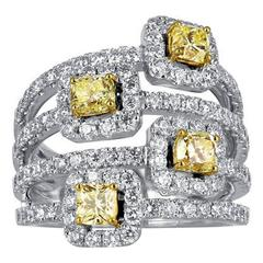 Radiant Cut Canary Wide Diamond Two Color Gold Ring
