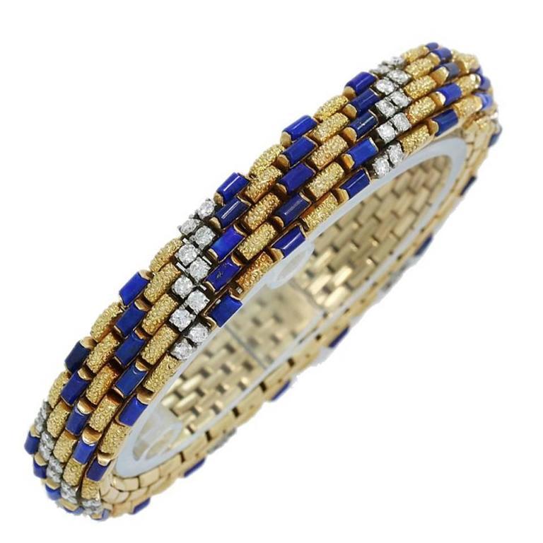 Van Cleef & Arpels Lapis Lazuli Diamond Gold Bracelet