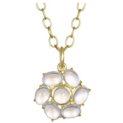 Faye Kim 18k Gold Ceylon Moonstone Daisy Gold Pendant Necklace