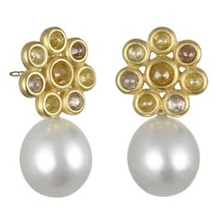 Faye Kim 18k Gold Raw Diamond Gold Daisy Earrings White South Sea Pearl Drops
