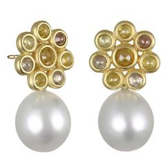 Faye Kim Milky Diamond Gold Daisy Stud Earrings with White South Sea Pearl Drops