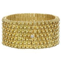 Faye Kim Handmade Flexible Gold Link Cuff Bracelet with Diamond Closure