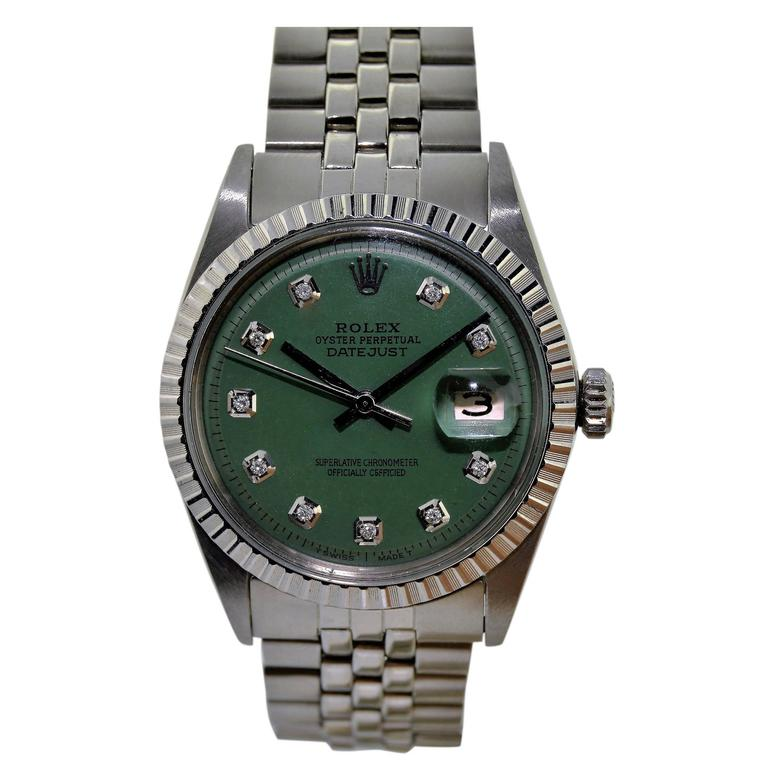 Rolex Stainless Steel Green Diamond Dial Automatic Wrist Watch
