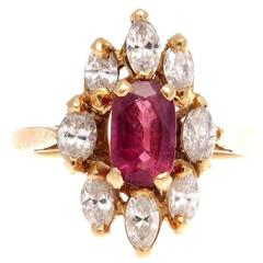 French Ruby Diamond Gold Ring