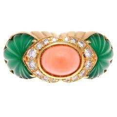 Cartier Coral Chrysophrase Diamond Gold Ring