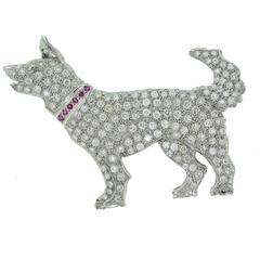 Platinum Large Diamond Dog Brooch Pin with Ruby Collar