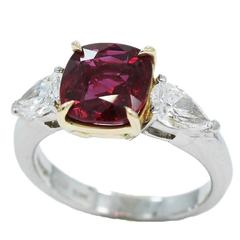 Ruby and Pear Shape Diamond gold Ring