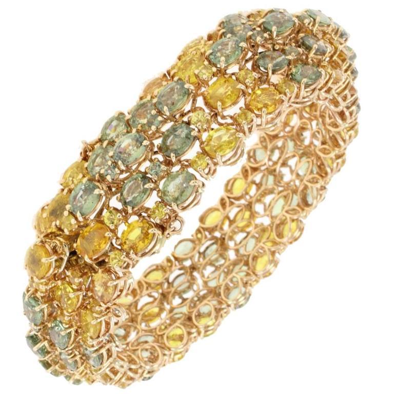 luisa multicolor sapphires gold bracelet for sale at 1stdibs