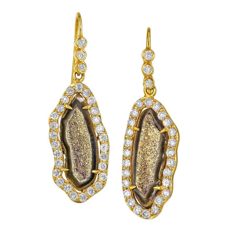 Lauren Harper One of a Kind Inlaid Gold Crystal Geode Diamond Drop Earrings For Sale