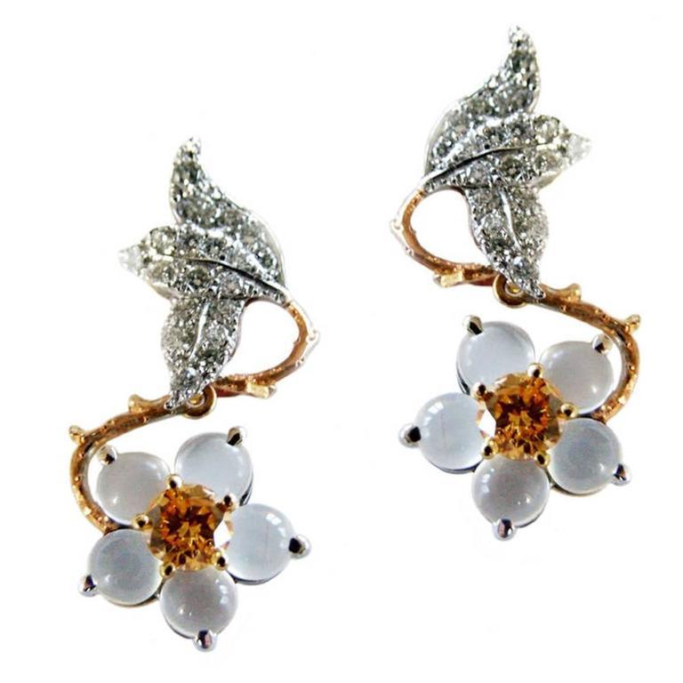 Dalben Moonstone Orange and White Diamond Hellebore Earrings