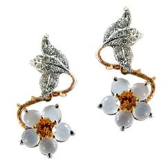 Dalben Moonstone Orange and White Diamond Hellebore Earrings