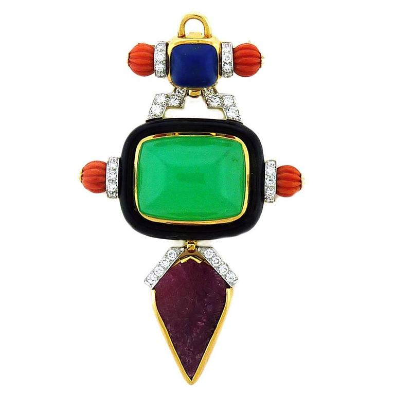 David Webb Chrysoprase Coral Lapis Lazuli Ruby Diamond Pendant Pin