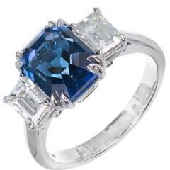 Peter Suchy Natural Blue Emerald Cut Sapphire Diamond Platinum Engagement Ring