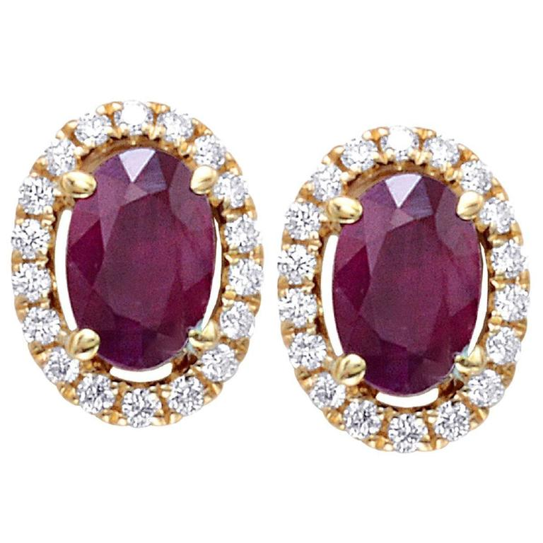 1.27 Carats Oval Ruby Round Cluster Diamonds Gold Earrings  1