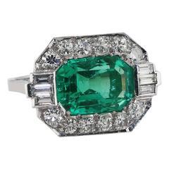 Art Deco AGL Certified 6 Carat Colombian Emerald Diamond Ring