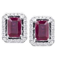 Emerald Cut Cushion Rubies with Diamond Halo Earrings