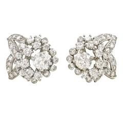 1950s Cartier Diamond  Platinum flower cluster Earrings